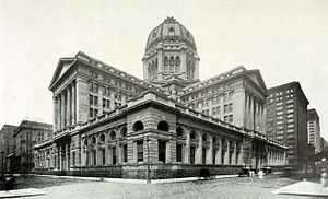 Chicago Federal Building - Federal Building looking northwest from Dearborn and Jackson ca. 1910.