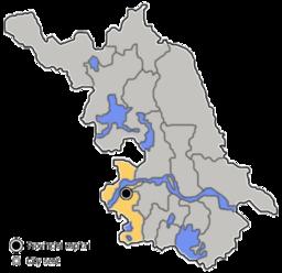 Situo de Nankingo enkadre de provinco Ĝjangsuo