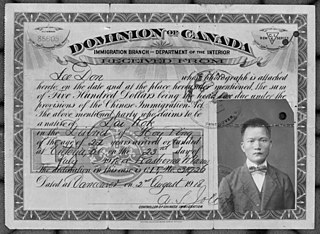 Chinese Immigration Act of 1885 Canadian 1885 immigration legislation