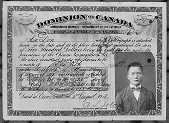 Chinese Immigration Act of 1885 - Chinese Immigration Act certificate released on 2 August 1918