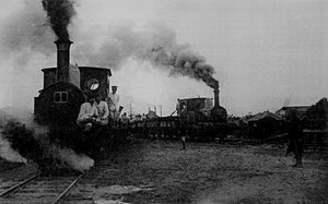 Nakanochō Station - Steam locomotive numbers 1 and 2 next to Nakanochō Station on the Chōshi Sightseeing Railway circa 1913