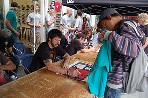 Chris Cole (skateboarder) - Chris Cole signing autographs during the DC Riot Tour in the Netherlands.