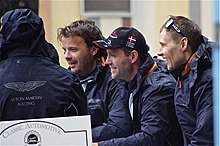 Description de l'image Christoffer Nygaard, Allan Simonsen and Kristian Poulsen Drivers of Aston Martin Racing's Aston Martin Vantage.jpg.