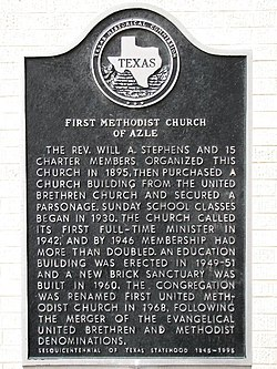 Photo of First Methodist Church of Azle and Will A. Stephens black plaque