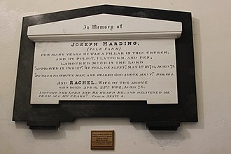 Joseph Harding - The memorial to Joseph Harding in the Church of St Peter, Marksbury