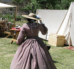 Civil war reenactment - southern woman in prairie skirt.jpg