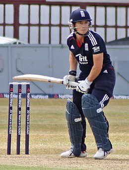 Claire Taylor batting for England
