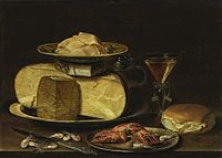 Clara Peeters - Cheesestack with knife shrimp crawfish glass of wine and bread.jpg