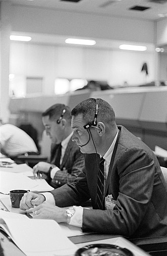 Clifton Williams - Williams at the consoles in Mission Control during the Gemini 3 mission