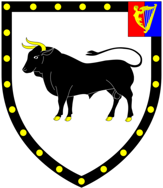 William Cole, 1st Earl of Enniskillen - Arms of Cole, Earl of Enniskillen: Argent, a bull passant sable armed or a bordure of the second bezantée on a canton sinister per pale gules and azure a harp of the third stringed argent.. These are the arms of Cole of Nethway in the parish of Brixham, Devon, differenced by a canton