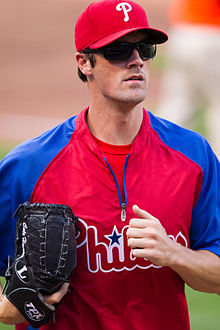 Cole Hamels on the field in sunglasses