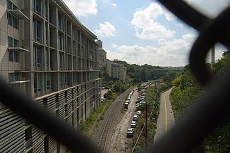 RIDC - The Collaborative Innovation Center (left), Carnegie Mellon University's Hamerschlag Hall (center), and railroad tracks in Pittsburgh.