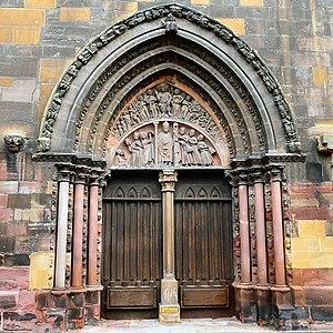 St Martin's Church, Colmar - Image: Colmar Gothic portal of Saint Martin Church