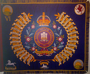 Royal Welch Fusiliers - Regimental Colour of the 6th (Caernarvonshire and Anglesey) Battalion, Royal Welch Fusiliers.