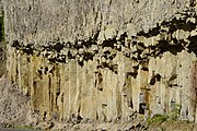 Columnar basalt near Tower Falls. Large floods of basalt and other lava types preceded mega-eruptions of superheated ash and pumice.