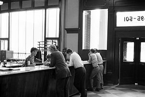 The Commercial Appeal - Ad copy agents take orders for advertisements in the Old Commercial Appeal Building, 495 Union Avenue, Memphis, in 1961.