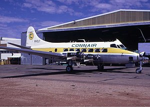 Alice Springs Airport - A Connair DH-114 at Alice Springs, early 1970s