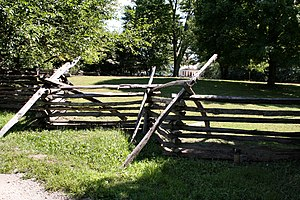 Split-rail fence - A split-rail fence with supports.