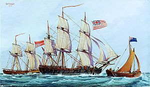 Continental Navy - Continental ship ''Columbus'' with captured British brig Lord Lifford, 1776