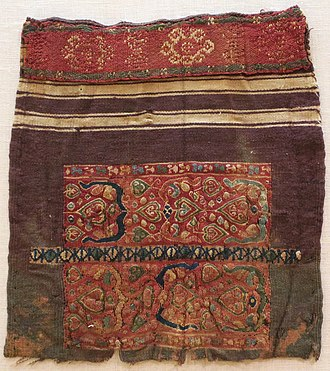 Icon of Christ and Abbot Mena - Coptic textile sample, 4th or 5th century, Lowe Art Museum