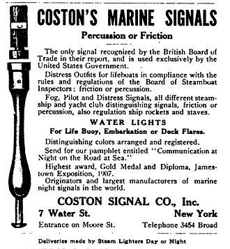 Martha Coston - 1913 advertisement for Coston flares.