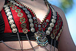 Decorations on a tribal-style bellydance costume bra