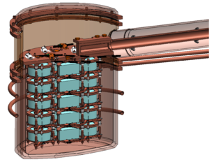 MAJORANA - A MAJORANA Demonstrator copper vacuum cryostat showing strings of detectors (turquoise).