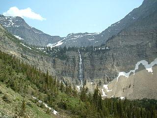 Crypt Lake Trail lake in Alberta, Canada