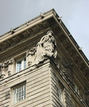 Cunard Building - The Cunard Building is adorned by several highly detailed sculptures, including this one depicting a roaring lion raised on its hind legs