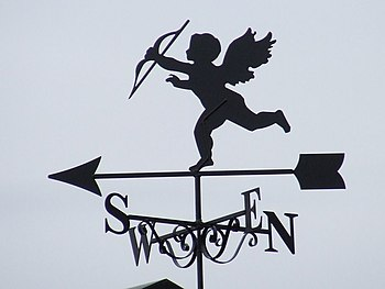 English: Cupid Cupid weather vane Pentlow, Essex.