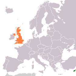 Map indicating locations of Cyprus and United Kingdom