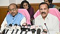 D.V. Sadananda Gowda addressing a press conference on the achievements of the Ministry of Statistics and Programme Implementation, during the last four years, in New Delhi.JPG