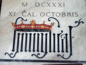 """House of Borromeo - The Latin word """"humilitas"""" in gothic writing, from the tomb of cardinal Federico Borromeo at Milan Cathedral"""