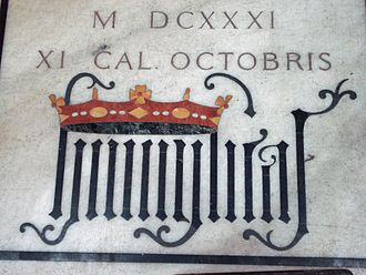 "House of Borromeo - The Latin word ""humilitas"" in gothic writing, from the tomb of cardinal Federico Borromeo at Milan Cathedral"