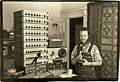 Dan with the largest installation of Model A mixers ca 1980.jpg