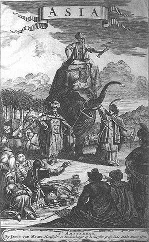Olfert Dapper - Illustration of people riding an elephant, from the 1681 German edition of the Dapper's Description of Asia (1680)