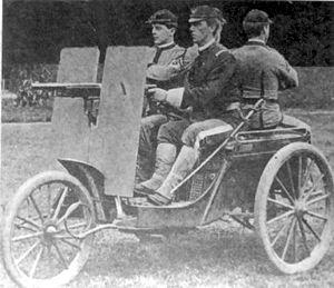 "Davidson-Duryea gun carriage - Three-wheeled ""gun carriage"" military vehicle, 1899"