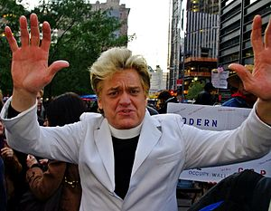 Reverend Billy and the Church of Stop Shopping - Reverend Billy at Occupy Wall Street, where he has shown up several times to support the protesters.