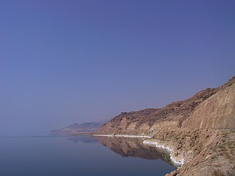Dead Sea - The Jordanian shore of the Dead Sea, showing salt deposits left behind by falling water levels.