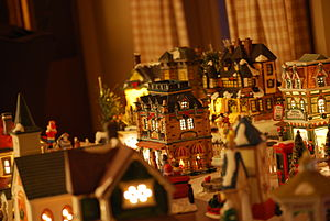 Christmas village - A Christmas village set atop a table