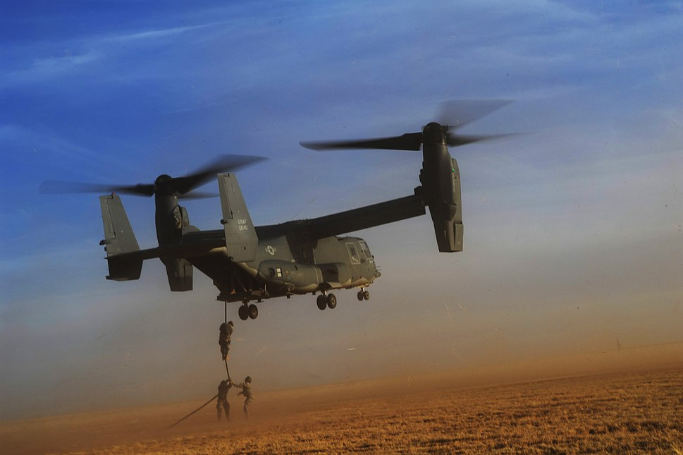 Defense.gov News Photo 110301-F-NW323-545 - U.S. Army soldiers with Alpha Company 4th Battalion 10th Special Forces Group fast-rope from a CV-22 Osprey tiltrotor aircraft during exercise