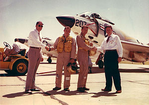 Wally Schirra - Schirra (2nd from right) and McDonnell Aircraft Design Chief, Dave Lewis at F3H Demon delivery, mid-1950s