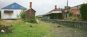 Mid-Norfolk Railway - Derelict remains of Dereham station in 1990.