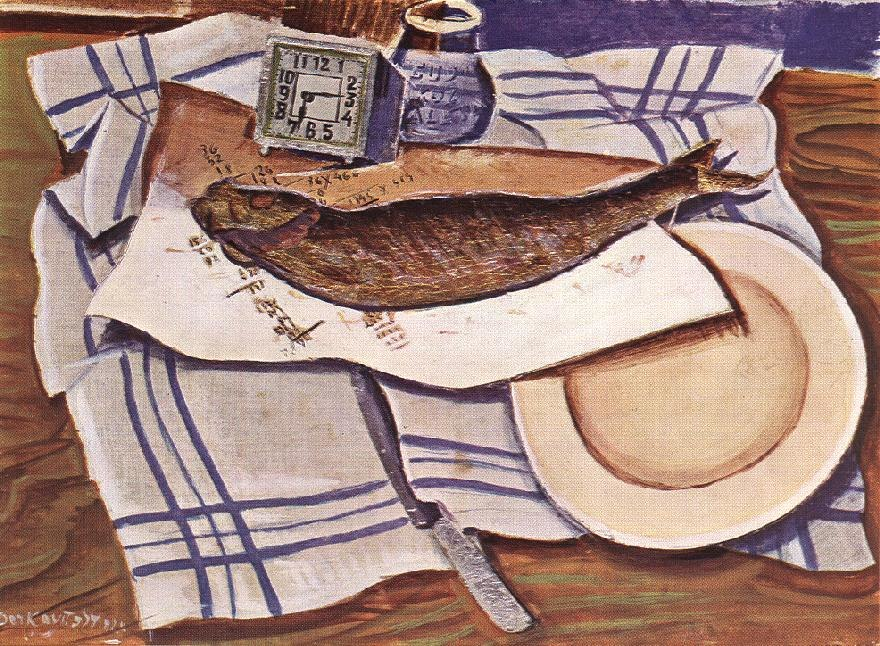 Derkovits, Gyula - Still-life with Fish I (1928)
