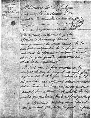 Pierre Le Roy - Description of the Le Roy detent escapement mechanism by the Académie des Sciences, 14 August 1748.