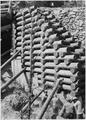 Detail of log supporting side of road at beginning of bridge - NARA - 286071.tif