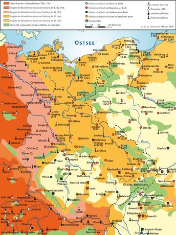 Karte der Deutschen Ostsiedlung