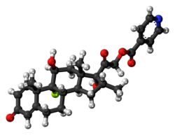 Ball-and-stick model of the dexamethasone isonicotinate molecule