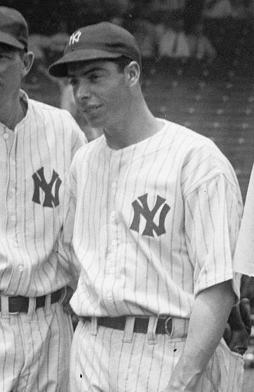 In 1941, Joe DiMaggio set an MLB record with a 56-game hitting streak that stands to this day and will probably never be broken. DiMaggio cropped.jpg