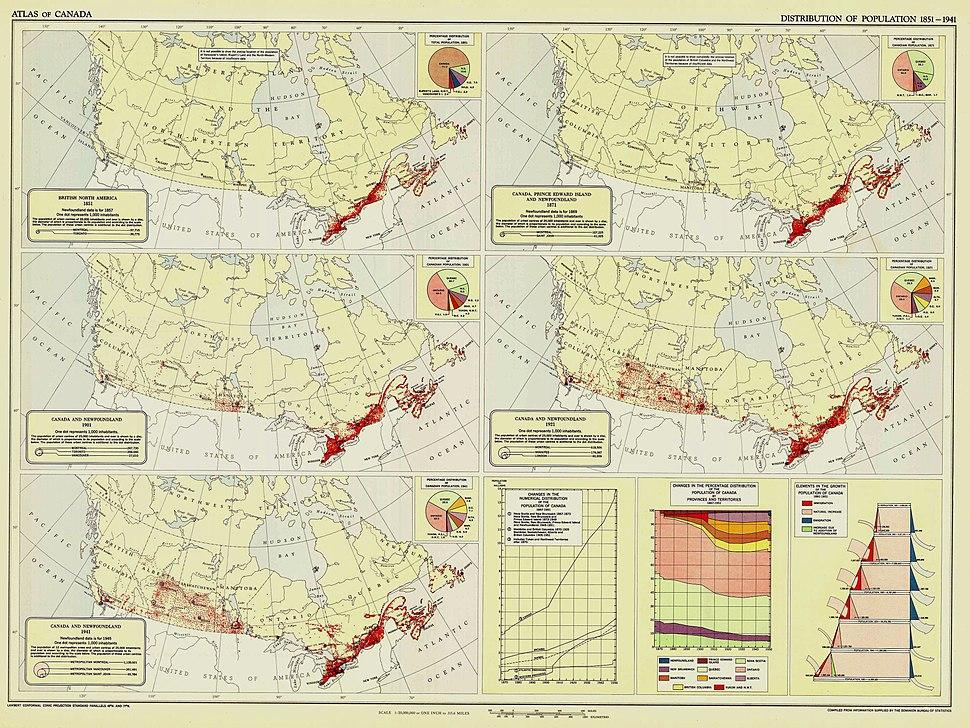 Distribution of Population, 1851 to 1941